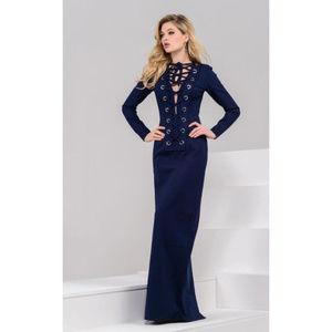 Jovani Dresses - Jovani  39205 Long Sleeve Lace Up Dress